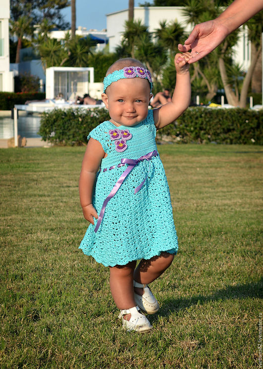 """Одежда для девочек, ручной работы. Ярмарка Мастеров - ручная работа. Купить Платье """"Бирюза"""". Handmade. Бирюзовый, платье для девочки"""