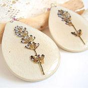 Украшения handmade. Livemaster - original item Wooden Drop earrings with Real lavender Resin Eco Flowers. Handmade.