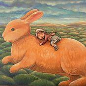 """Для дома и интерьера ручной работы. Ярмарка Мастеров - ручная работа """"Вперед по макушкам деревьев..."""" картина (дерево,папье-маше). Handmade."""