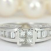Украшения handmade. Livemaster - original item 1.55tcw Princess Cut Engagement Ring, Modern Princess Cut Diamond Enga. Handmade.