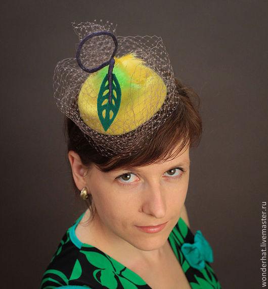 """Шляпы ручной работы. Ярмарка Мастеров - ручная работа. Купить Шляпка """"Лимонный шейк"""". Handmade. Шляпка валяная, шляпка с вуалью"""