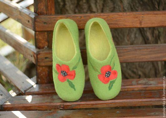 """Обувь ручной работы. Ярмарка Мастеров - ручная работа. Купить Валяные тапочки """"Маки"""". Handmade. Ярко-зелёный, тапочки из шерсти"""