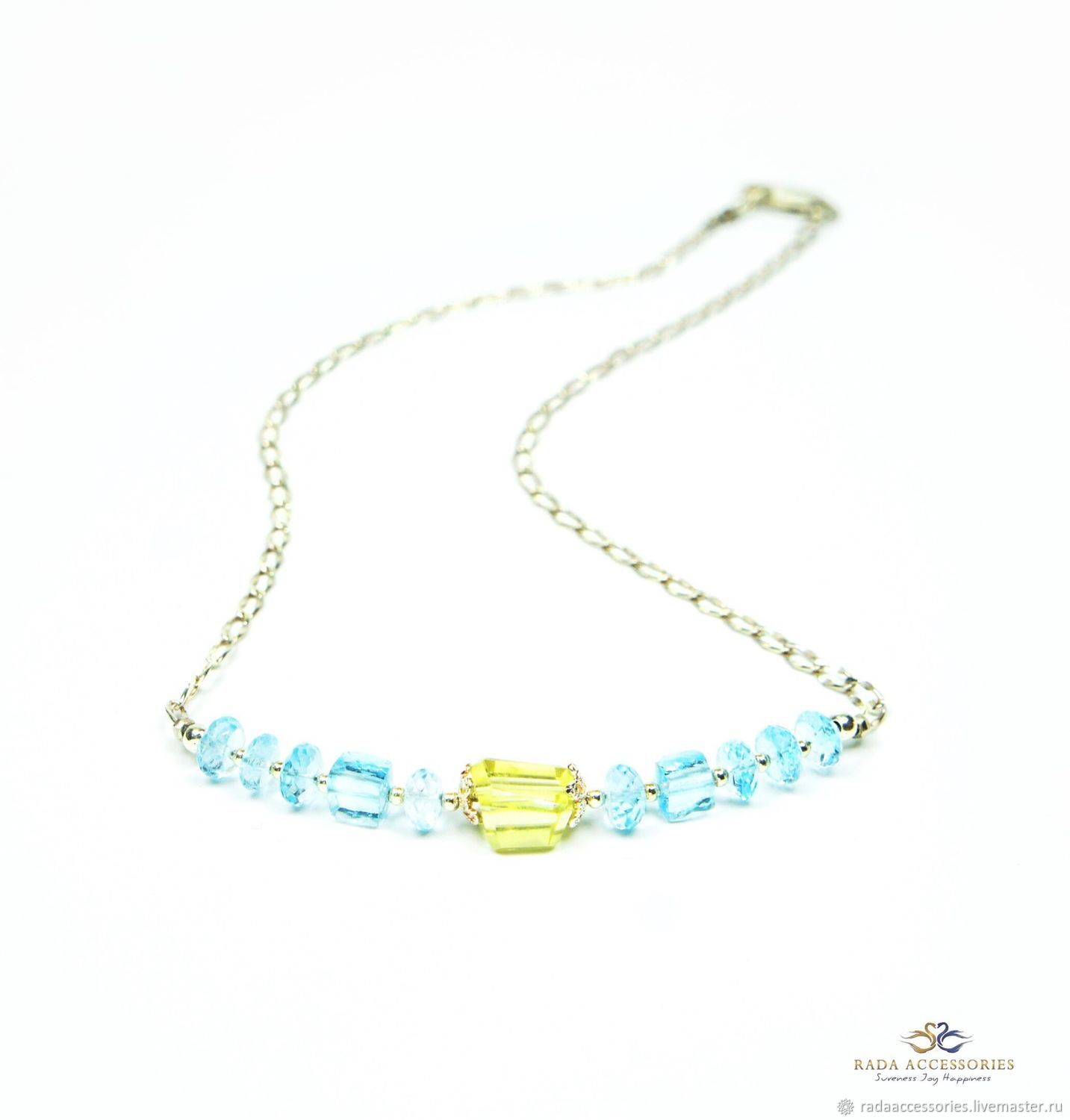 Govindas necklace of blue Topaz and citrine, Necklace, Ekaterinburg,  Фото №1
