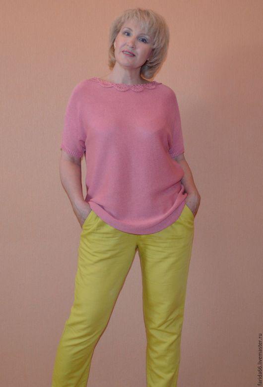 """Кофты и свитера ручной работы. Ярмарка Мастеров - ручная работа. Купить Туника """"Мечты...мечты..."""" в розовом цвете, из итальян. шелка с хлопком. Handmade."""