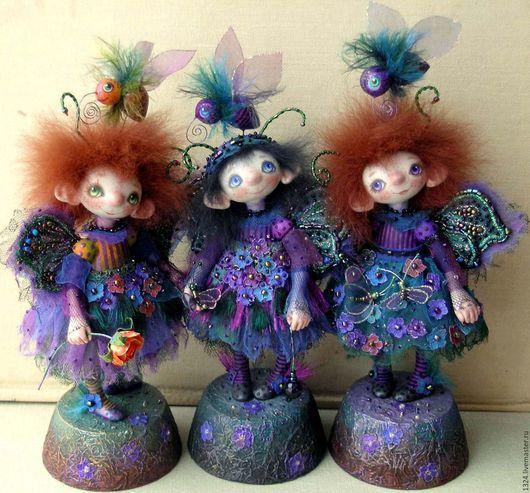 Коллекционные куклы ручной работы. Ярмарка Мастеров - ручная работа. Купить Куклы Мотыльки. Handmade. Тёмно-синий, крылышки, тайна
