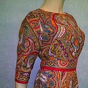 """Одежда ручной работы. Ярмарка Мастеров - ручная работа Платье из павловопосадских платков """"Испанский""""( темно-красное). Handmade."""