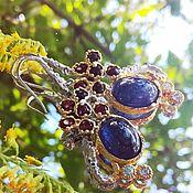 Украшения handmade. Livemaster - original item Earrings Bella with sapphires and garnets. Handmade.