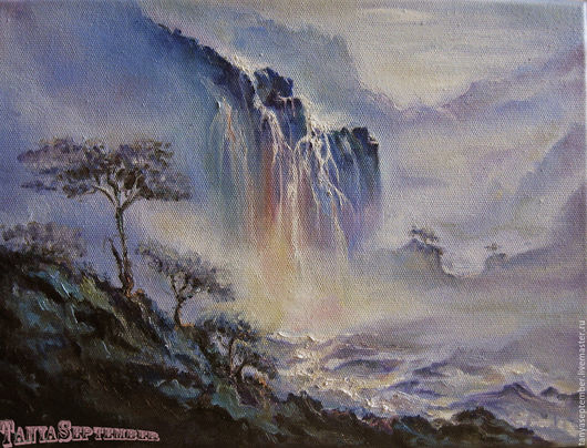 Пейзаж ручной работы. Ярмарка Мастеров - ручная работа. Купить Картина маслом Водопад в тумане. Handmade. Сиреневый, картина маслом