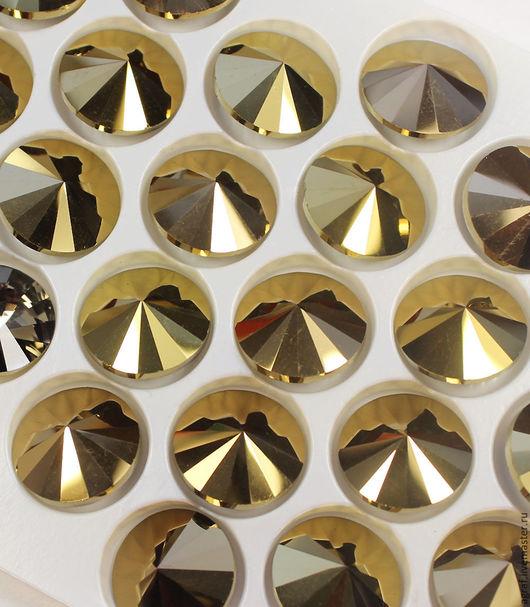 Для украшений ручной работы. Ярмарка Мастеров - ручная работа. Купить Стеклянные стразы риволи 14х14 мм Золотой Гематит 14 мм. Handmade.