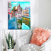 """Картины и панно ручной работы. Ярмарка Мастеров - ручная работа Картина маслом пейзаж городской, """"Дворец на острове"""". Handmade."""