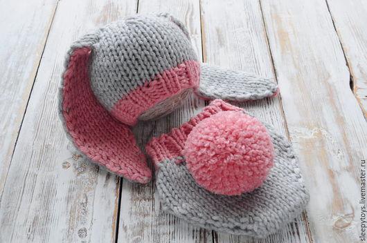 Для новорожденных, ручной работы. Ярмарка Мастеров - ручная работа. Купить Костюм Зайчика для фотосессии новорожденного (3) розовый. Handmade.