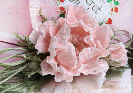 Броши ручной работы. Ярмарка Мастеров - ручная работа. Купить Мак бархатный «Нежность». Цветы из ткани.. Handmade. Бледно-розовый