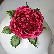 Украшения ручной работы. Ярмарка Мастеров - ручная работа Пионовидная роза из шелка для невесты на свадьбу. Цветы из шелка. Handmade.
