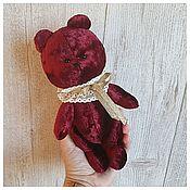 Мягкие игрушки ручной работы. Ярмарка Мастеров - ручная работа Бордовый винтажный  мишка в жабо (чердачный плюш). Handmade.