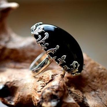 Украшения ручной работы. Ярмарка Мастеров - ручная работа Морион кольцо. Handmade.