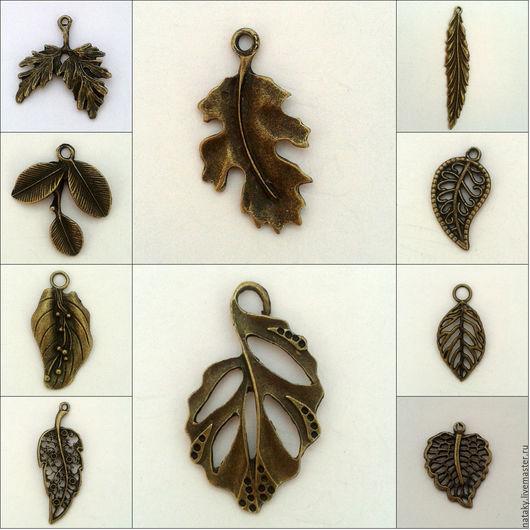 Для украшений ручной работы. Ярмарка Мастеров - ручная работа. Купить Подвески Листья. Handmade. Разноцветный, подвеска, лист