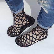 Обувь ручной работы. Ярмарка Мастеров - ручная работа Перфорированные летние полусапожки-сандалии. Handmade.