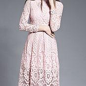 SALE! -50% Платье пудровое розовое кружевное
