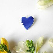 """Украшения ручной работы. Ярмарка Мастеров - ручная работа Брошь """"Сердце, Акварель"""" синее. Handmade."""