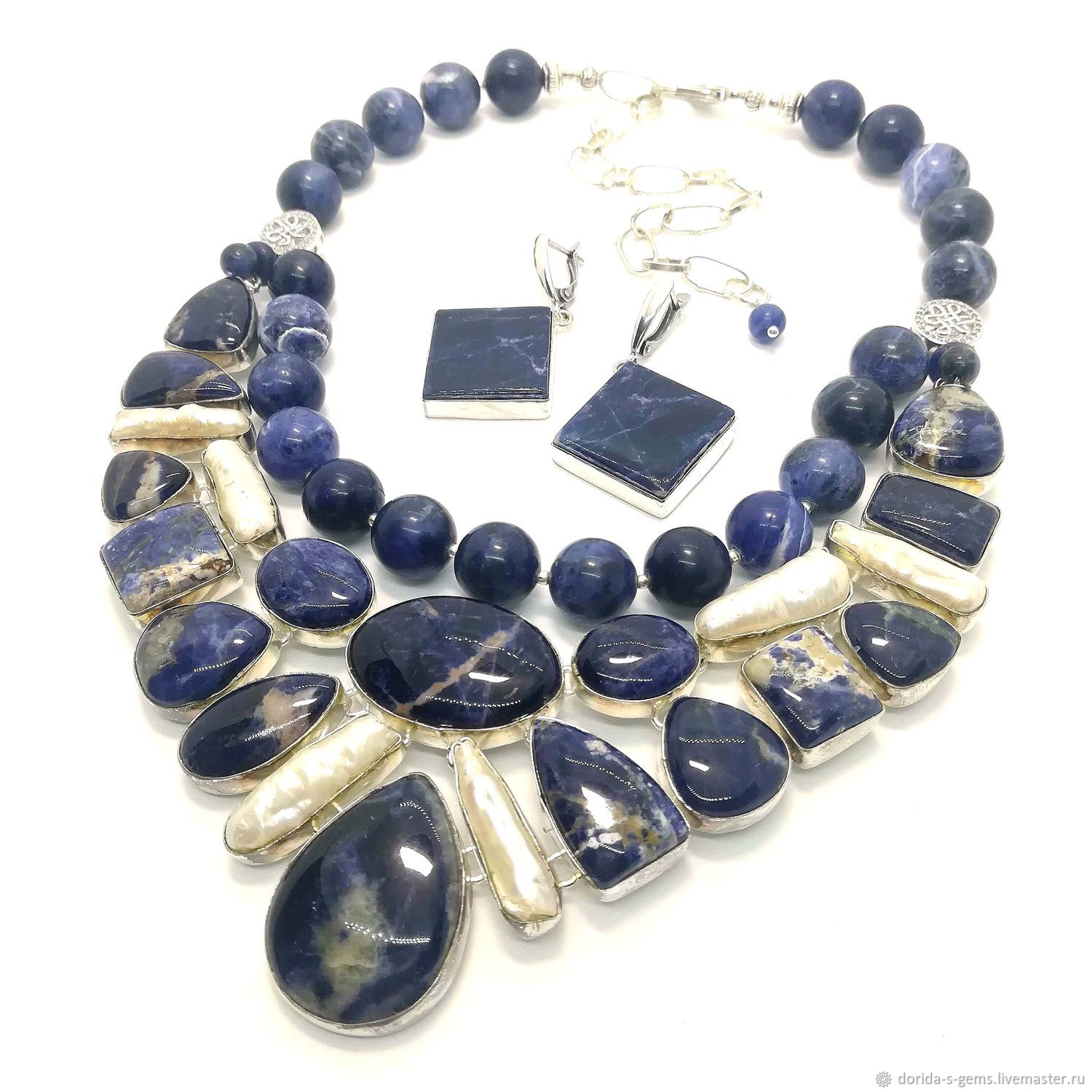 Necklace 'Adele' and Earrings - sodalite, pearl biva, beads, Necklace, Taganrog,  Фото №1
