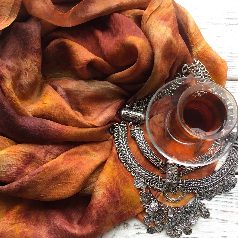 """Шелковый шарф """"Пряности и радости"""" экопринт, Scarves, Moscow,  Фото №1"""