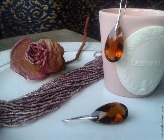 Серьги ручной работы. Ярмарка Мастеров - ручная работа. Купить Серебряные серьги с медовым цитирином. Handmade. Оранжевый, цитрин натуральный