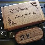 Сувениры и подарки handmade. Livemaster - original item Wooden flash drive with engraving, 32 GB memory, souvenir made of wood. Handmade.