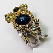 Украшения handmade. Livemaster - original item Silver ring, star sapphire, peridot, tourmaline. Handmade.