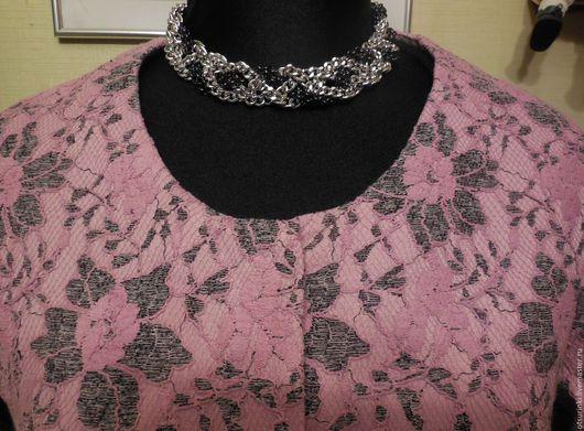 Верхняя одежда ручной работы. Ярмарка Мастеров - ручная работа. Купить Нарядное пальто из ткани с цветочным ажуром.. Handmade. Розовый