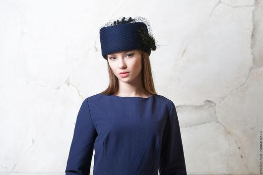Шляпы ручной работы. Ярмарка Мастеров - ручная работа. Купить Синяя шляпа со съемной вуалью. Handmade. Фетровая шляпа