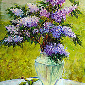 Картины и панно handmade. Livemaster - original item Oil painting on canvas lilac flowers, a bouquet of flowers in a vase. Handmade.