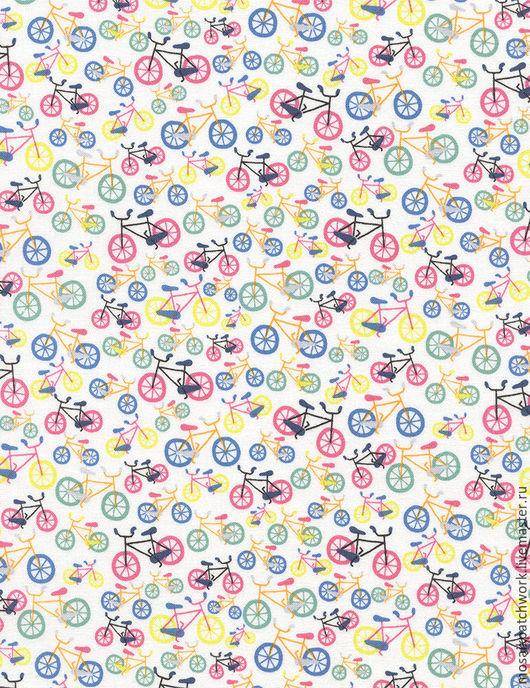 """Шитье ручной работы. Ярмарка Мастеров - ручная работа. Купить Ткань хлопок американский для пэчворка """"Велосипеды"""". Handmade. Комбинированный, велосипеды"""