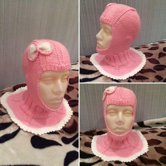 Шапки ручной работы. Ярмарка Мастеров - ручная работа. Купить Шапка шлем бантик для девочки. Handmade. Шапка вязаная