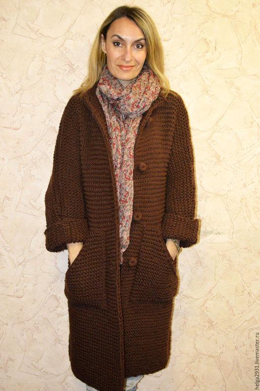 """Верхняя одежда ручной работы. Ярмарка Мастеров - ручная работа. Купить Пальто """"Уютное"""". Handmade. Коричневый, свободный силуэт"""