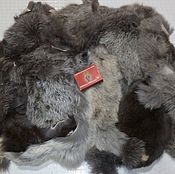 Материалы для творчества handmade. Livemaster - original item Rabbit fur natural silver (flap) 270 g.. Handmade.