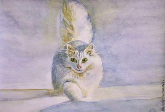 """Животные ручной работы. Ярмарка Мастеров - ручная работа. Купить Картина Акварель животные""""Белый, пушистый"""". Handmade. Белый цвет, кот"""