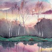 Картины и панно handmade. Livemaster - original item Watercolor. Watercolor as a gift. Sunset in Prenosova. Handmade.