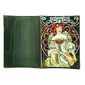 Сумки и аксессуары handmade. Livemaster - original item Passport cover made of leather Beauty of Alphonse Mucha. Handmade.