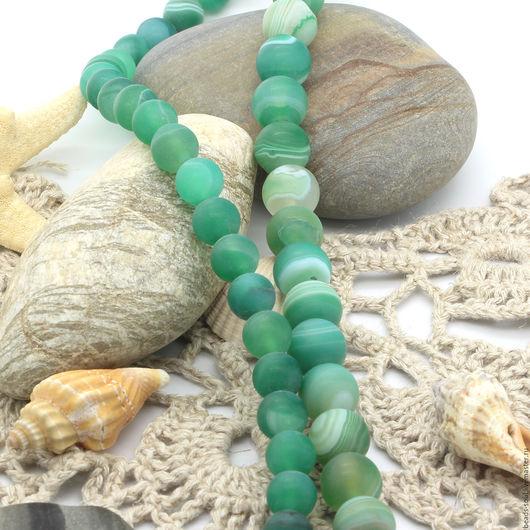 Для украшений ручной работы. Ярмарка Мастеров - ручная работа. Купить Агат матовый зеленый бусины шар 8мм - арт.13-16. Handmade.