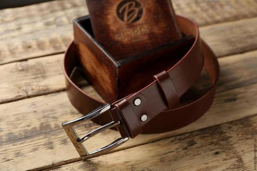 Пояса, ремни ручной работы. Ярмарка Мастеров - ручная работа. Купить Каштановый кожаный мужской ремень ручной работы. Handmade.