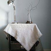 Для дома и интерьера ручной работы. Ярмарка Мастеров - ручная работа Бежевая скатерть из грубого льна с кружевом. Handmade.