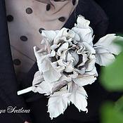 Украшения handmade. Livemaster - original item Brooch-clip leather rose ivory color. Decoration leather.. Handmade.