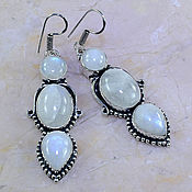 Серьги серебро лунный камень, адуляр