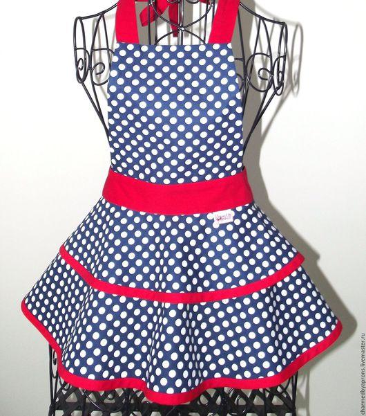 Кухня ручной работы. Ярмарка Мастеров - ручная работа. Купить Фартук White Dots On Navy Blue With Red. Handmade.