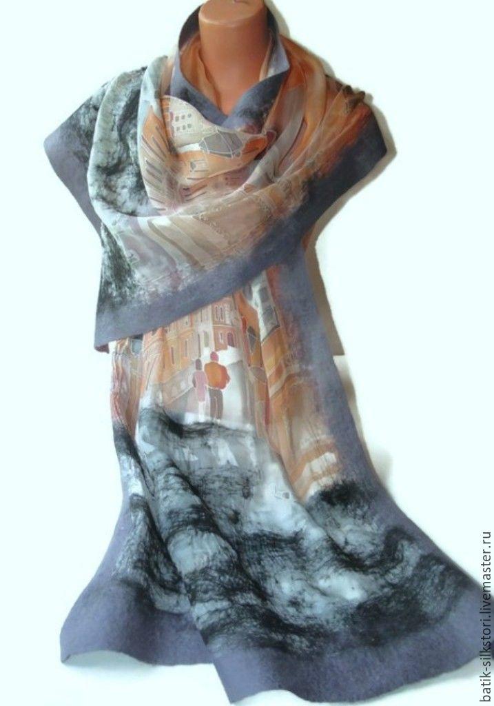 Scarves handmade. Livemaster - handmade. Buy Batik Tippet felted streets of Paris.Handmade, tippet felted