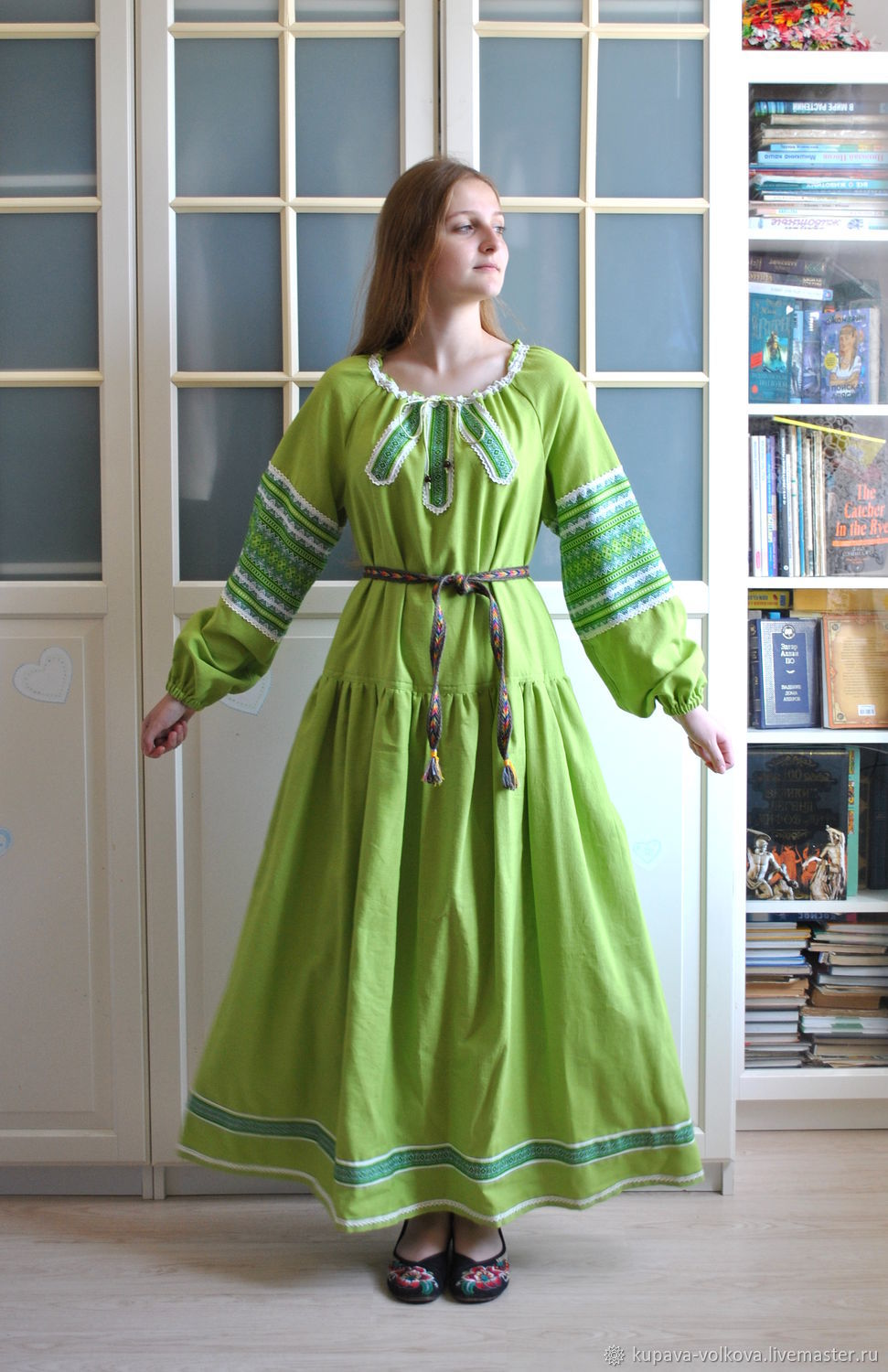 Linen long dress green ' Vesnyanka', Dresses, Anapa,  Фото №1