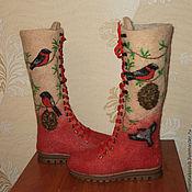 Валенки ручной работы. Ярмарка Мастеров - ручная работа Валенки женские снегири на кедре. Handmade.