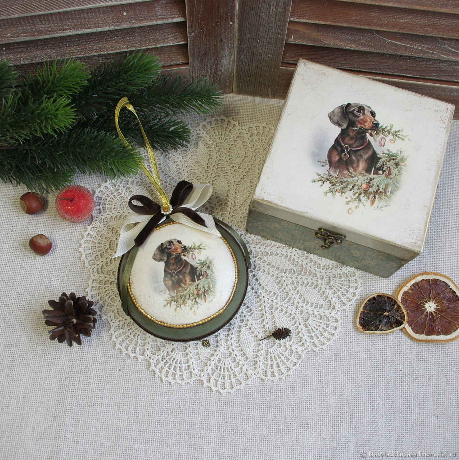 Christmas ball Box Christmas kit decoupage – shop online on