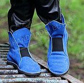 Обувь ручной работы handmade. Livemaster - original item Espadrilles high suede elastic electric Blue. Handmade.