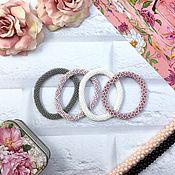Украшения ручной работы. Ярмарка Мастеров - ручная работа Розовые браслеты - Зефир - бисерный жгут, серый, белый, шебби шик. Handmade.